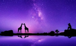 Traveler Man Silhouette on Top Mountain.Panorama blue night sky milky way and star on dark background.Universe filled with stars, nebula and galaxy with noise and grain.With  giraffe.