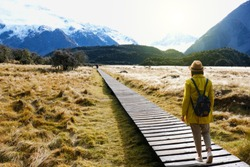 Traveler walking to the Mountain cook with beautiful view at South Newzealand.