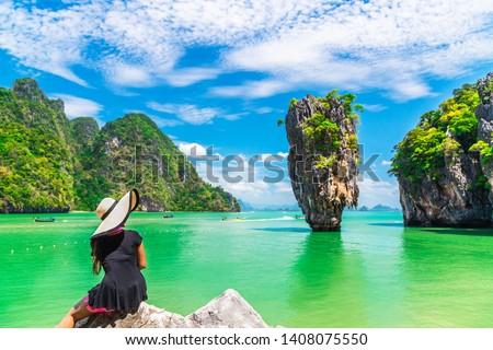 Traveler woman joy amazed wonder nature scenic landscape James Bond Island, Famous popular landmark tourist travel Phuket Thailand summer holidays vacation, Tourism beautiful destinations place Asia