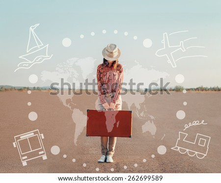 Traveler young woman standing with a suitcase on road. Map of the world and types of transport on image. Concept of travel