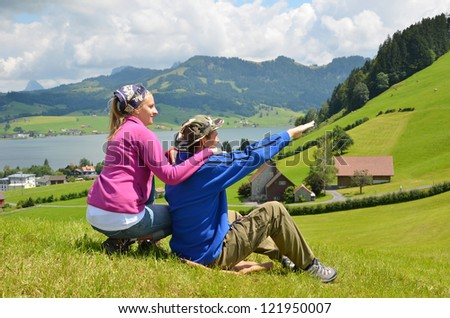 Travelers having rest on the hill