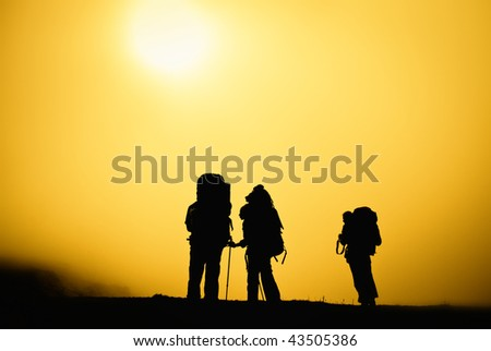 Travelers silhouette