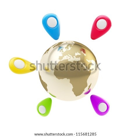 Traveling around the world: colorful geo tag emblems around golden Earth globe isolated on white background
