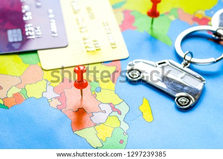 Traveling concept with car and credit card on map #1297239385
