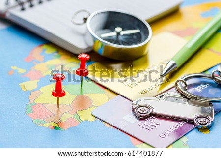 Traveling concept with car and credit card on map #614401877