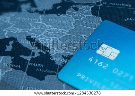 Traveling concept with credit card on map background #1284530278