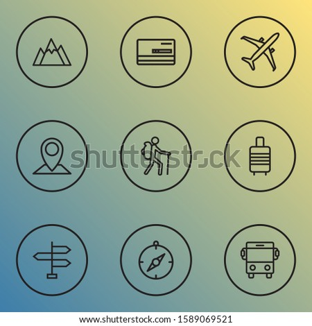 Traveling icons line style set with location, airplane, valise and other direction elements. Isolated illustration traveling icons.