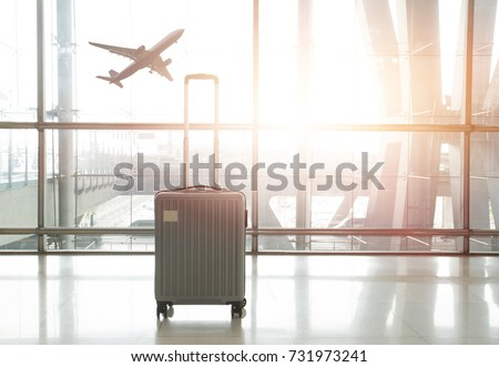 traveling luggage in airport terminal, concept of travel by air plane