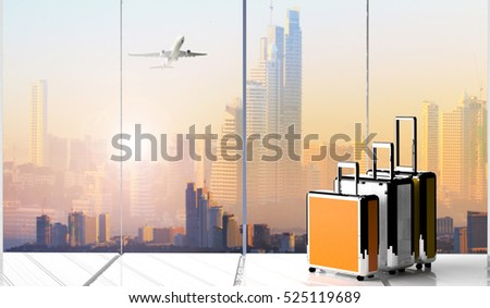 traveling luggage in airport terminal   ,Suitcases in airport departure lounge, summer vacation concept, traveler suitcases in airport terminal waiting area, empty hall interior with large windows