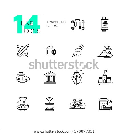 Traveling - modern line design icons set. Suitcase, passport, plane, wallet, route, mountains, car museum ship castle digital camera cup bicycle hotel