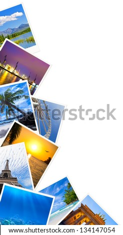 Traveling photos frame isolated on white