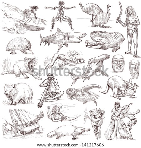 Traveling series: AUSTRALIA and Oceania - collection of an hand drawn illustrations. Description: full sized hand drawn illustrations isolated on white .