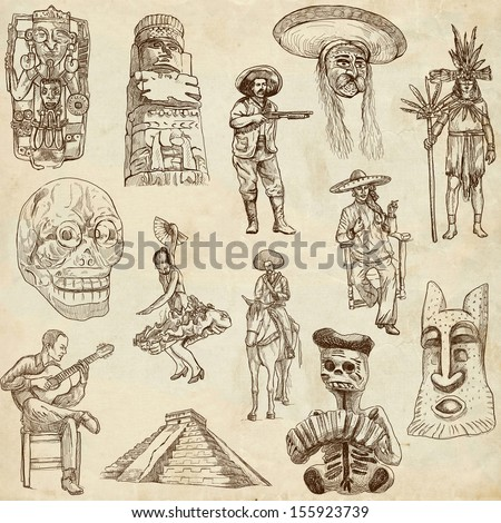 Traveling series: MEXICO, part 2 - Collection of an hand drawn illustrations. Description: Full sized hand drawn illustrations drawing on old paper.