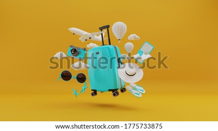 Traveling suitcase with smartphone and travel accessories on yellow background. travel concept. 3d rendering.