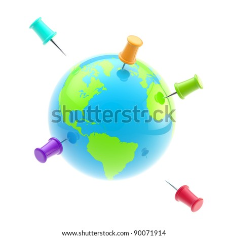 Traveling, tourism and transportation conceptions: icon-like globe of Earth covered with bright glossy plastic pins isolated on white