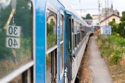 traveling train - window view