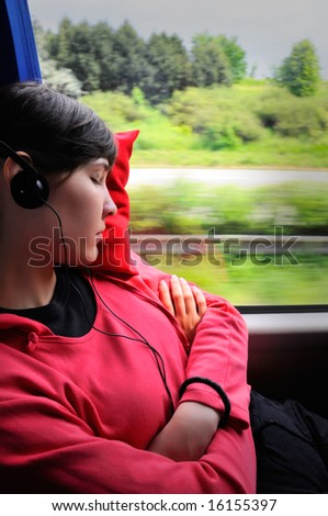 Traveling young woman - girl sleep in the bus