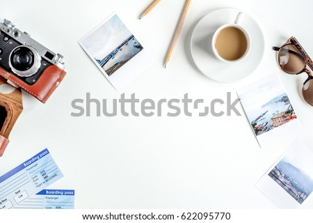 traveller set with coffee and camera white background top view mock up