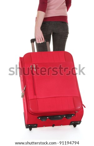 traveller with a suitcase isolated on white