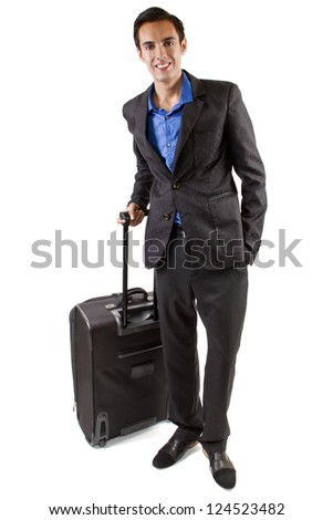 Travelling man with luggage waiting