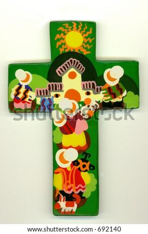 Traversa colorata handmade di legno - stock photo
