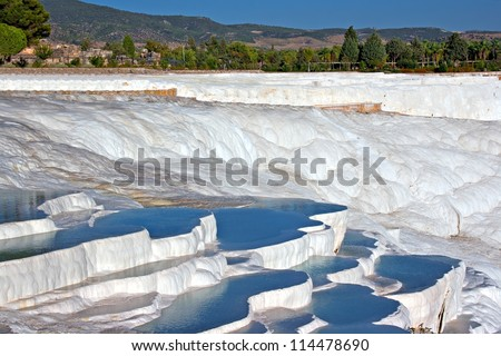 Travertine covered hills and rock pools of Pamukkale Turkey