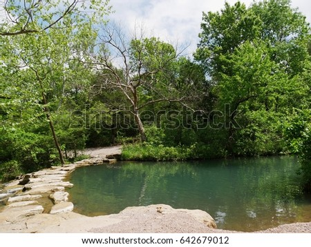 Travertine Creek Chickasaw National Recreation Area in Sulphur, Oklahoma Green pools of water in Chickasaw National Recreation Area in Sulphur, Oklahoma   #642679012