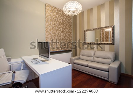 Travertine house - horizontal view of comfortable home office