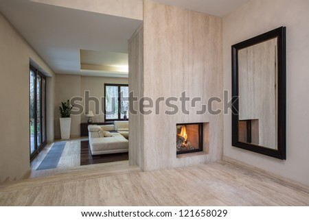 Travertine house: Horizontal view on entrance to living room