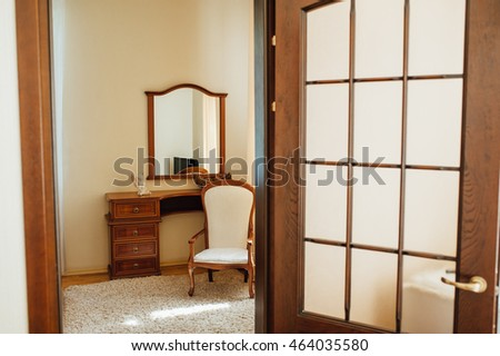 Travertine house: interior of beige living room. #464035580