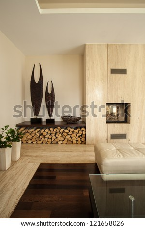 Travertine house: Vertical view of living room interior