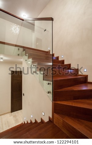 Travertine House Wooden Glass Staircase In Modern