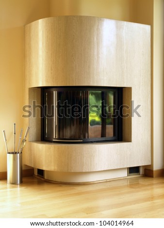 Travertine modern fireplace