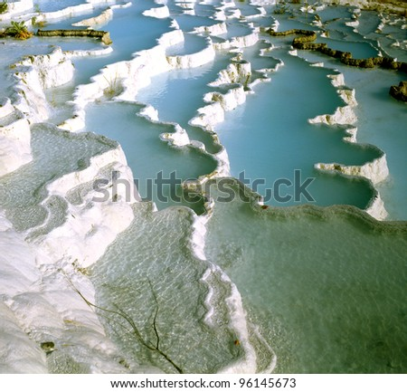Travertine pools and terraces, Pamukkale, Turkey, World Heritage Site by UNESCO