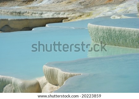 Travertine pools and terraces with water, Pamukkale, Hierapolis Turkey.