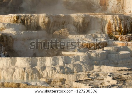 Travertine terraces at Mammoth Hot Springs, Yellowstone National Park, Wyoming, USA