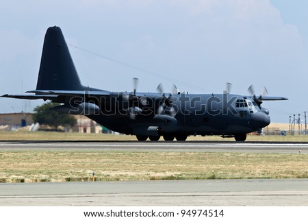 TRAVIS AIR FORCE BASE, CA - JULY 30: US Air Force Lockheed-Martin C-130T Hercules on display during  Airshow on July 30, 2011 at Travis Air Force Base, CA.