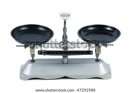 Tray balance on white background