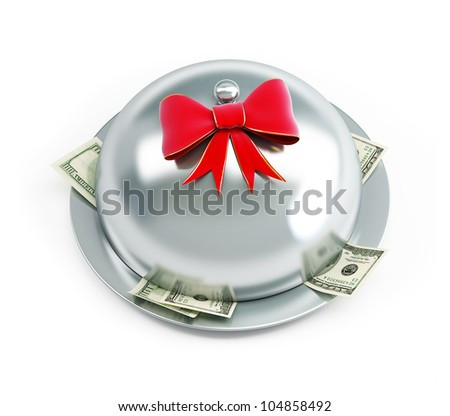 tray dollars gift on a white background