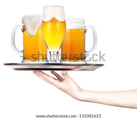 tray full of beer. celebration concept isolated
