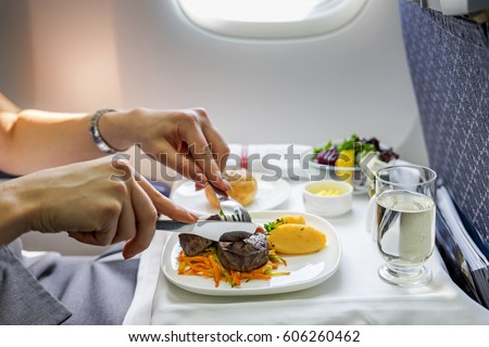 Tray of food on the plane  #606260462