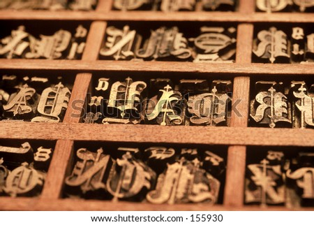 Tray of  Gothic metal letters used in old style printing press