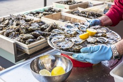 Tray of opened fresh oysters on half shell on ice with lemon in a street of Bordeaux, capital of Aquitaine. France.