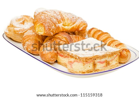tray of pastries, isolated on white background