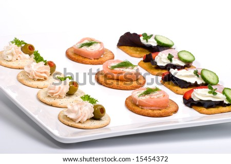 Tray with fresh sandwiches on holiday table