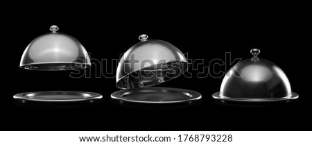 Trays with cloches on dark background Photo stock ©