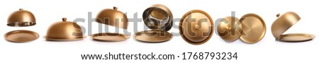 Trays with cloches on white background Photo stock ©