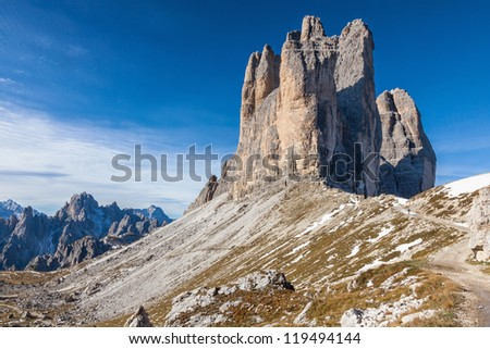 Tre Cime Di Lavaredo mountain Peaks in the Alps