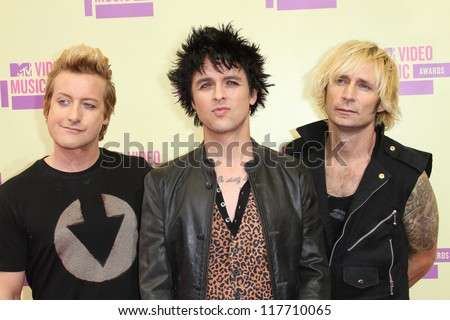 Tre Cool, Billie Joe Armstrong, Mike Dirnt at the 2012 Video Music Awards Arrivals, Staples Center, Los Angeles, CA 09-06-12