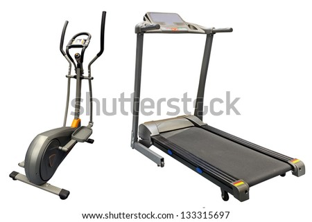 treadmills isolated under the white background